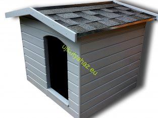 Modern, hőszigetelt kutyaház fekete 3D téglány zsindellyel